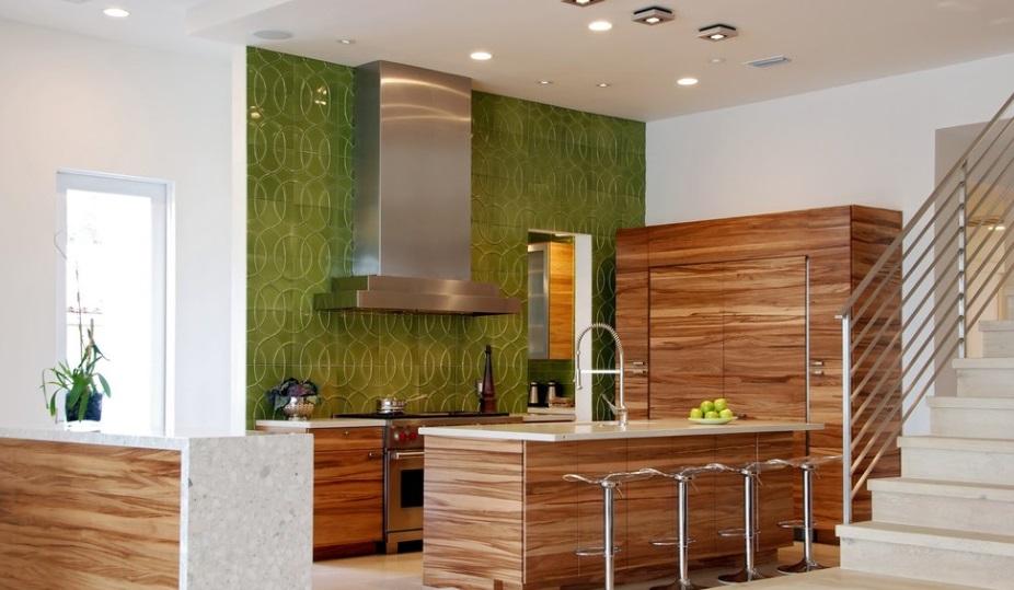 KUCHNIA Jaki kolor ścian wybrać? -> Kuchnia Zielone Kafelki