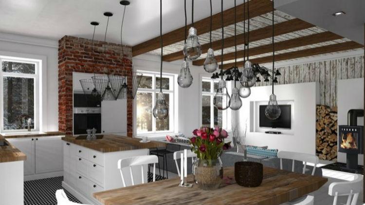 Cegła na ścianie w kuchni zawsze modna -> Kuchnia I Cegla