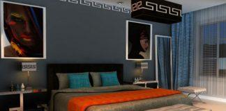 Ciemne ściany w sypialni