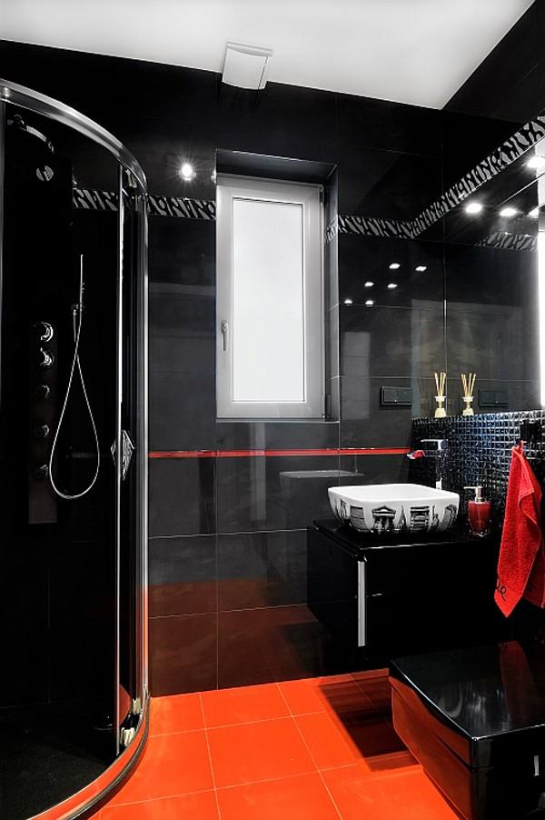 Czerwona łazienka W Duecie Z Czernią Portal Wnętrzarski