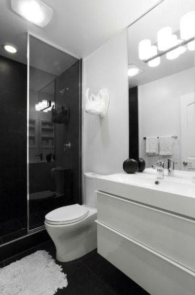 czarne ściany w salonie kąpielowym, fot.: Popp Littrell Architecture+Interiors