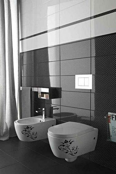 czarne ściany w salonie kąpielowym, fot.: Marazzi