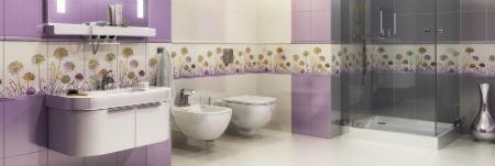 Fioletowe płytki w łazience, fot.: Kwadro Ceramika