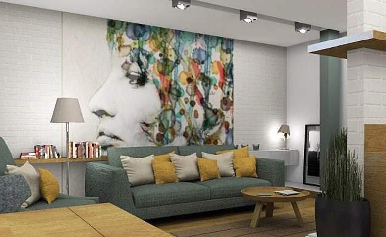 Białą ściana jest doskonałym tłem dla kolorowej grafiki na ścianie, źródło: Studio Projektowe Metrarz