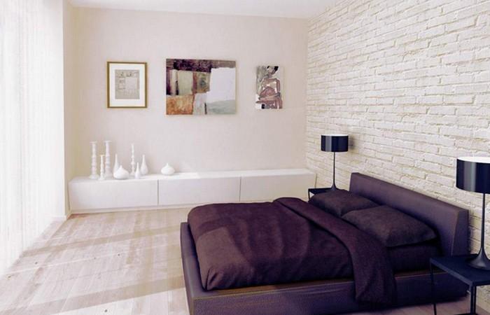 Biała cegła na ścianie w sypialni, źródło: Moskou