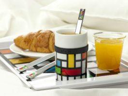 Naczynia marki PO z designerskim nadrukiem inspirowanym stylem Pieta Mondriana