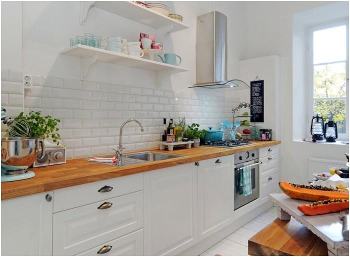 Kuchnia bez górnych szafek kuchennych