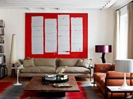 Salon z białymi ścianami