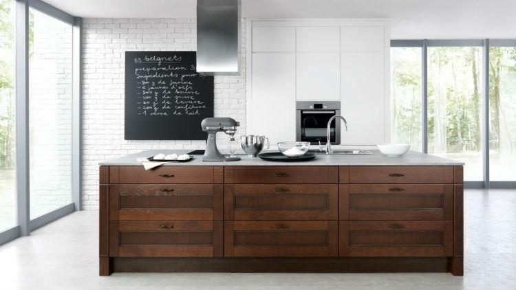 Meble kuchenne w kolorze naturalnego drewna, Kolekcja Draggo Black Red White