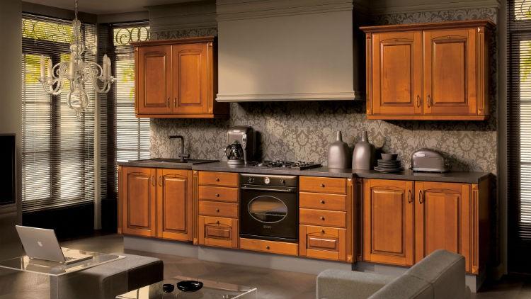Meble kuchenne w kolorze naturalnego drewna, Kolekcja Insygnata Black Red White