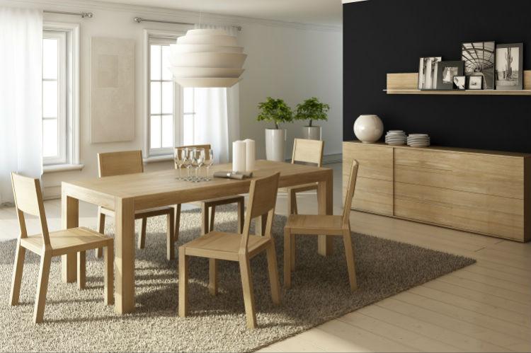 Stół rozkładany BLOX -  piękno naturalnego drewna zamknięte w prostej, masywnej bryle wpasowującej się w nowoczesne wnętrza.