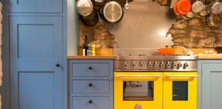 Kolorowy sprzęt kuchenny: żółta kuchenka gazowa