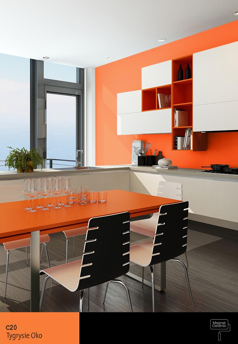 Salon z aneksem w nowoczesnej kolorystyce z nutą pomarańczy