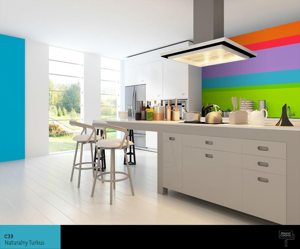 Żywe kolory ścian w kuchni