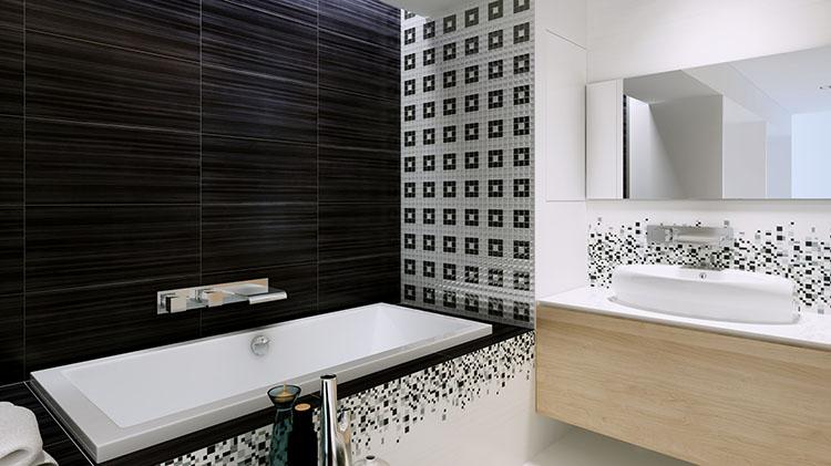Biało Czarna łazienka Idealne Będą Płytki Sindi Marki Opoczno