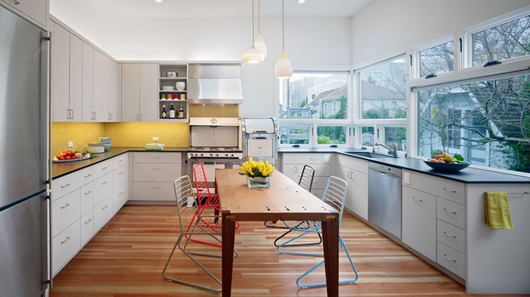 Żółta kuchnia - żółte ściany w kuchni, fot.: Ohr Dauer Architects