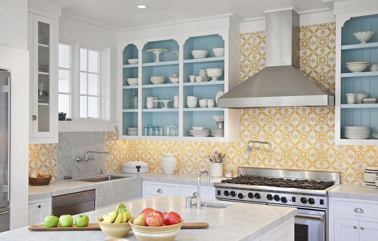 Żółta kuchnia - żółte płytki do kuchni, fot.: Jessica Glyb Photography