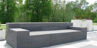 Betonowe meble ogrodowe wykonane z kostki brukowej