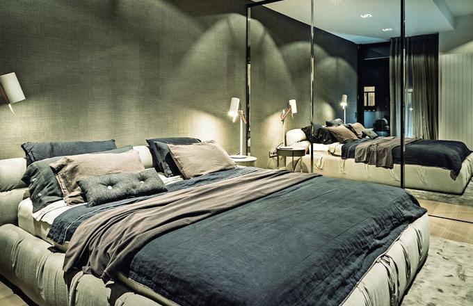 oswietlenie sypialni jasne szarości