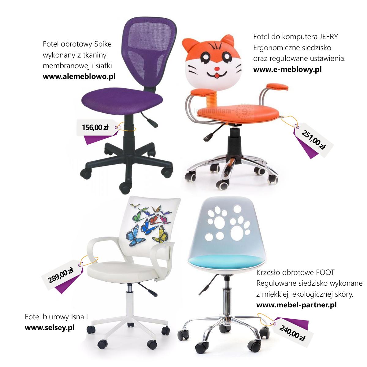 Krzesła obrotowe do pokoju dziecka