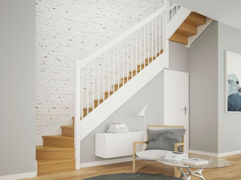 schody drewniane biale