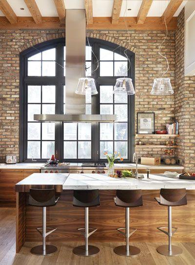 kuchnia loft cegła