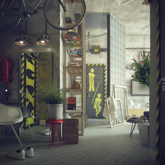 salon utrzymany w stylu loft