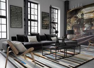 salon w stylu loftowym