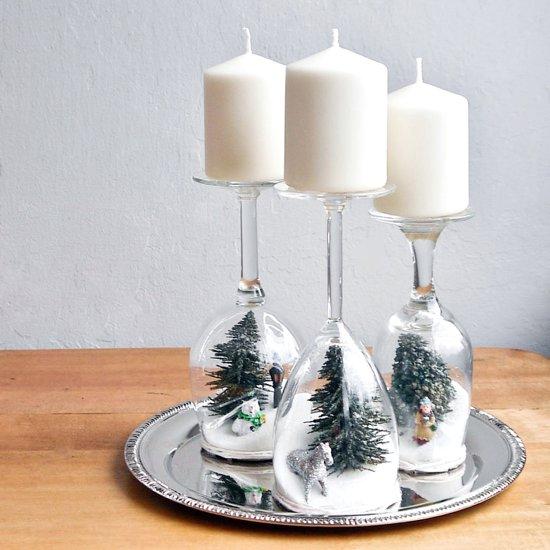 Dekoracje świąteczne zrób to sam - świecznik z kieliszków - świąteczny stroik diy